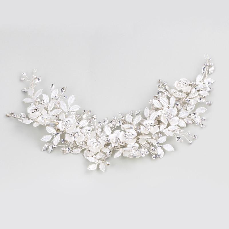 Dower me Charming Silver Leaf Wedding Tiara Bridal Headband Hair Accessories Handmade Hair Crown For Women