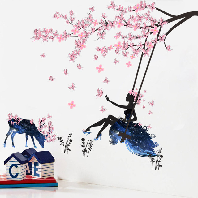 DIY Removable wall stickers for kids rooms boys Girls Tree Car butterfly  animals fairy Decal Family