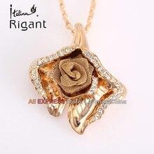A1-P246 Italina Rigant Fashion Rhinestone Rose Flower Necklace Pendant 18KGP Crystal Jewelry