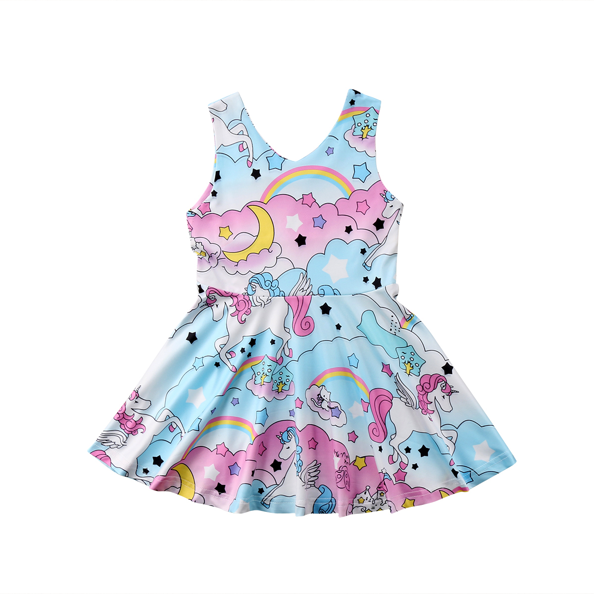 Kids Baby Girls Horse Floral Party Pageant Dress Sundress Clothes Casual Dresses 2018 Hot Summer Cute Dress