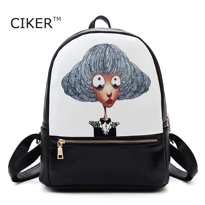 CIKER Brand High quality leather backpack women printing backpacks for teenage girls fashion travel bag cute