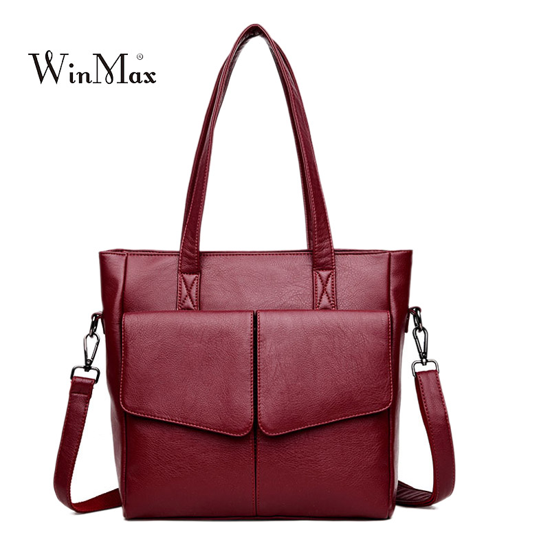 Quality Women Leather Handbag Multi-pocket Shoulder Bag Female Casual Tote Bags Women Vintage Handbag sac a main Ladies Handbags