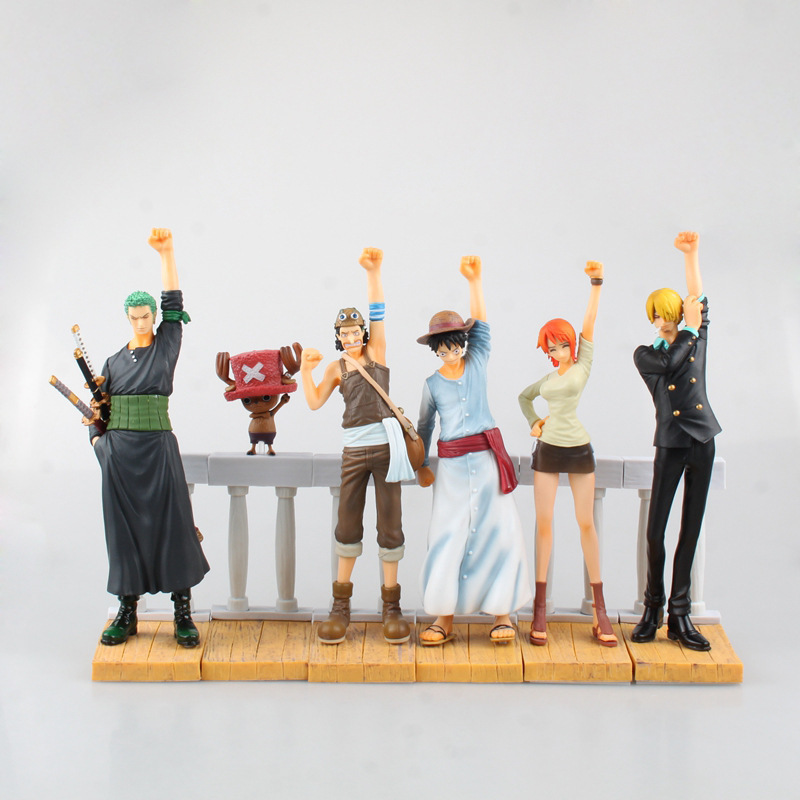 Anime Cartoon One Piece Luffy Zoro Nami Sanji Chopper Usopp PVC Action Figures Collectible Model Kids