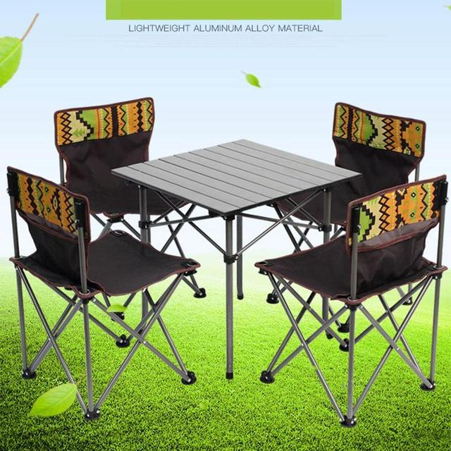Outdoor Furniture Portable Folding Tables And Chairs Five Piece Camouflage Picnic  Table Chair Fishing Bag KJY1860