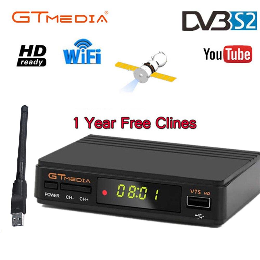 GTMedia V7S DVB-S2 V7S HD Receptor de Satélite Full HD 1080P + USB WIFI + 1 Ano Clines CCCAM Atualização freesat V7 Receptor Sat TV Box