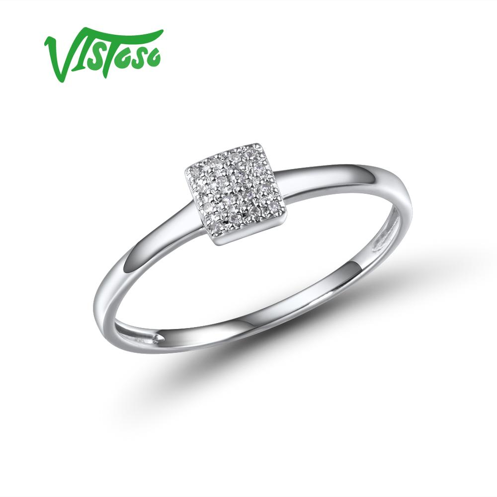 VISTOSO Pure 14K 585 Rose White Gold Sparkling Diamond Delicate Square Ring For Women Anniversary Engagement Trendy Fine Jewelry