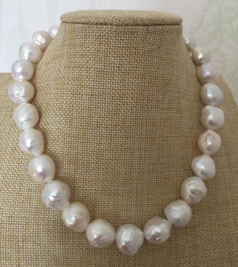 Splendida 12-13mm mare del sud barocco white pearl necklace 18 inch 925 argentoSplendida 12-13mm mare del sud barocco white pearl necklace 18 inch 925 argento