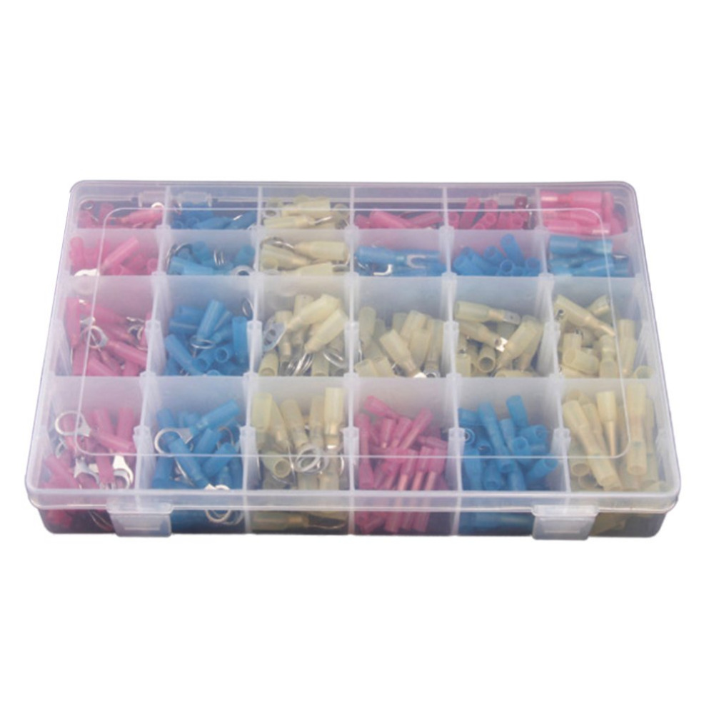 480pcs Heat Shrinkable Boxed Combination Insulated Wire Connectors Waterproof Terminal Crimp Connector Kit