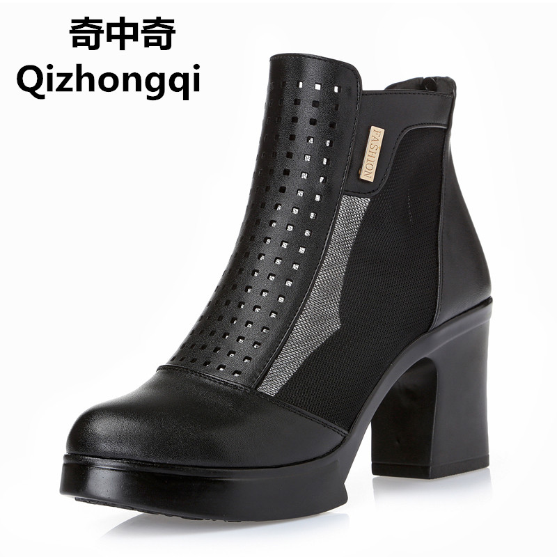 2017 spring and summer new genuine leather women sandals fish mouth with the net high-heeled hole hollow hole hole shoes women 2016 summer new leather tendon at the bottom side of the empty fish head crude rainbow low heeled shoes women xtf039