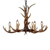 6 Heads Nordic American Country Antler Chandelier Retro Resin Deer Horn Chandelier Lighting Restaurant Lustres Home