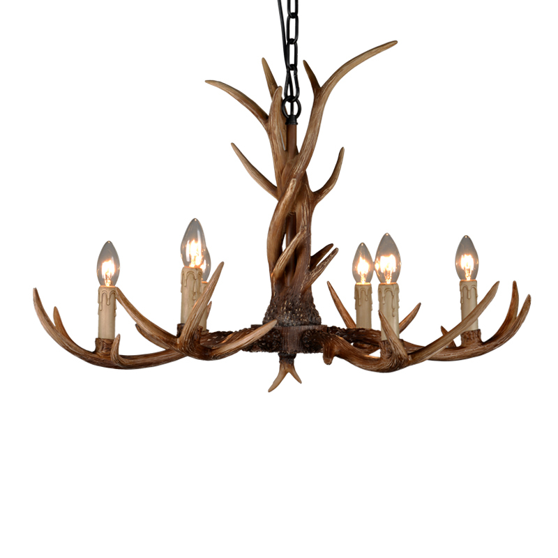 6 heads nordic american country antler chandelier retro resin deer horn chandelier lighting restaurant lustres home - Antler Chandelier