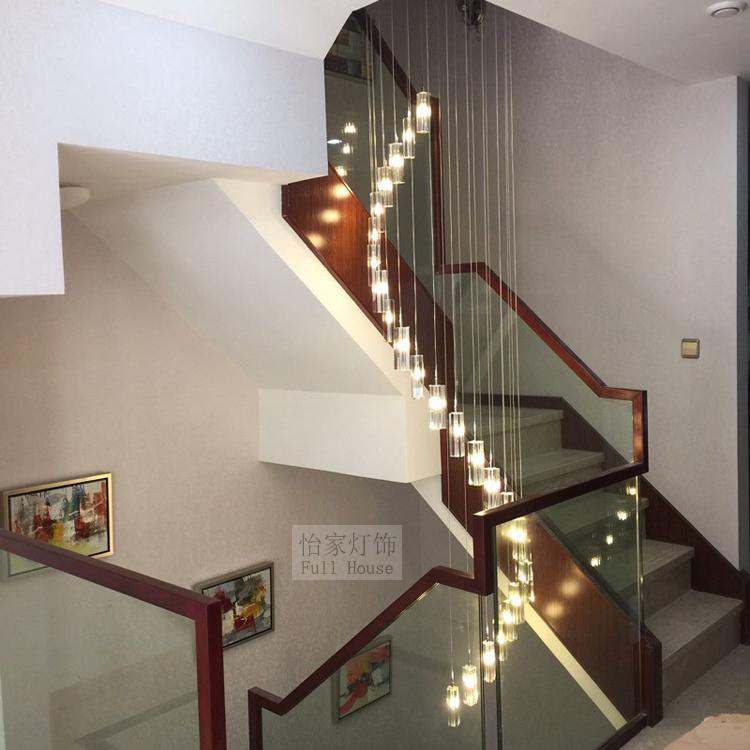Modern Chinese style simple villa crystal block long LED S rotary double staircase living room lighting pendant light ZH chinese style simple led long block crystal villa staircase pendant lamp revolving double staircase living room lighting pendant