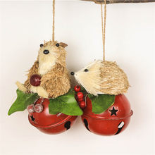 "3.5"" Christmas Tree Bells Straw Bear&Hedgehog Pendant Home Decorations Noel Jingle Bells Metal Decor Craft Ornament Bell(China)"