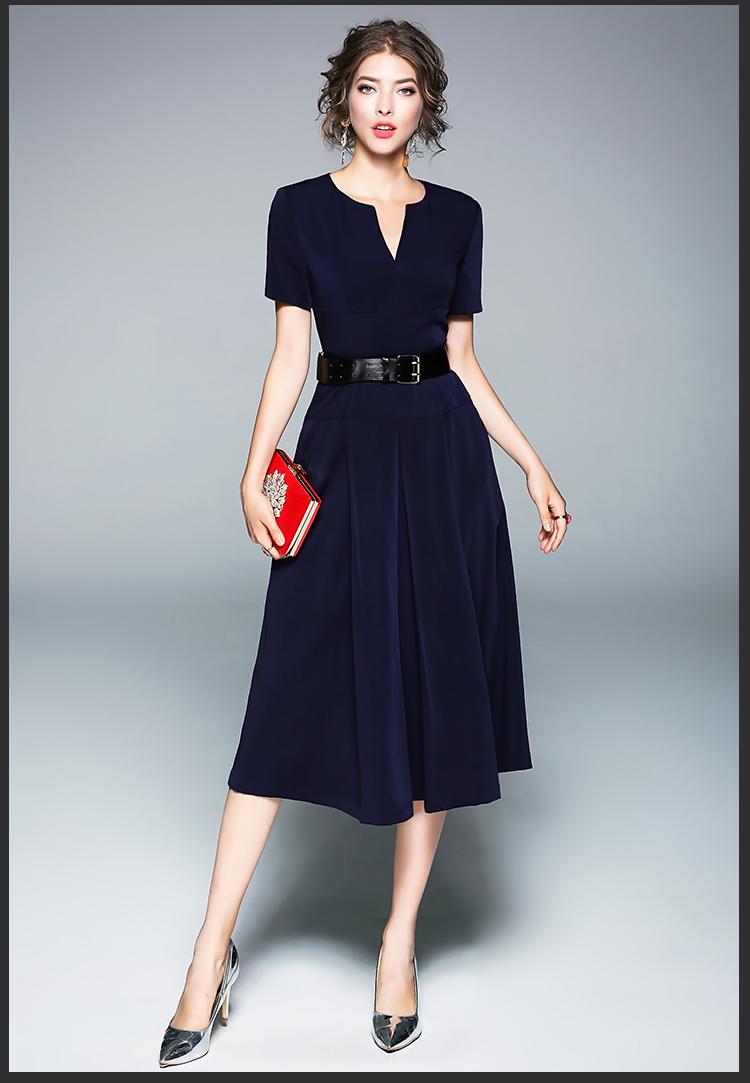 Summer V neck Navy Blue Long Office Dress Vestidos Verano 2018 Robe ...