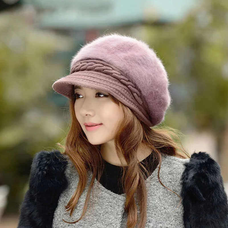 Women Beret Autumn Winter Double Thickened Warm Baggy Knit Crochet Slouch Hat