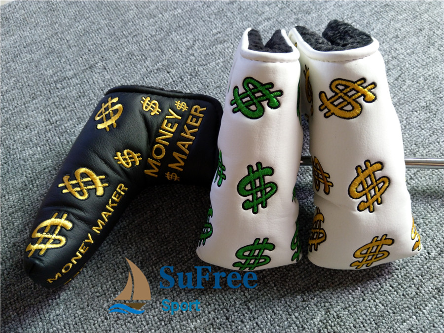 Latest Dollar Symbol Embroidered Golf Putter Head Cover Money Market Golf Blade Club Headcovers L-shaped 3colors