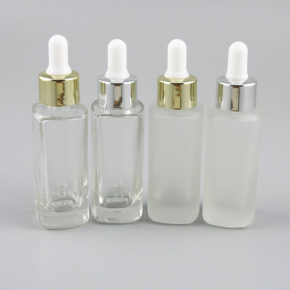 e7592183886f US $265.5 10% OFF|200 x 30ml Clear Frost Square Glass Bottles for Essential  Oils with Glass Eye Dropper 1oz Glass Drop Containers-in Refillable ...