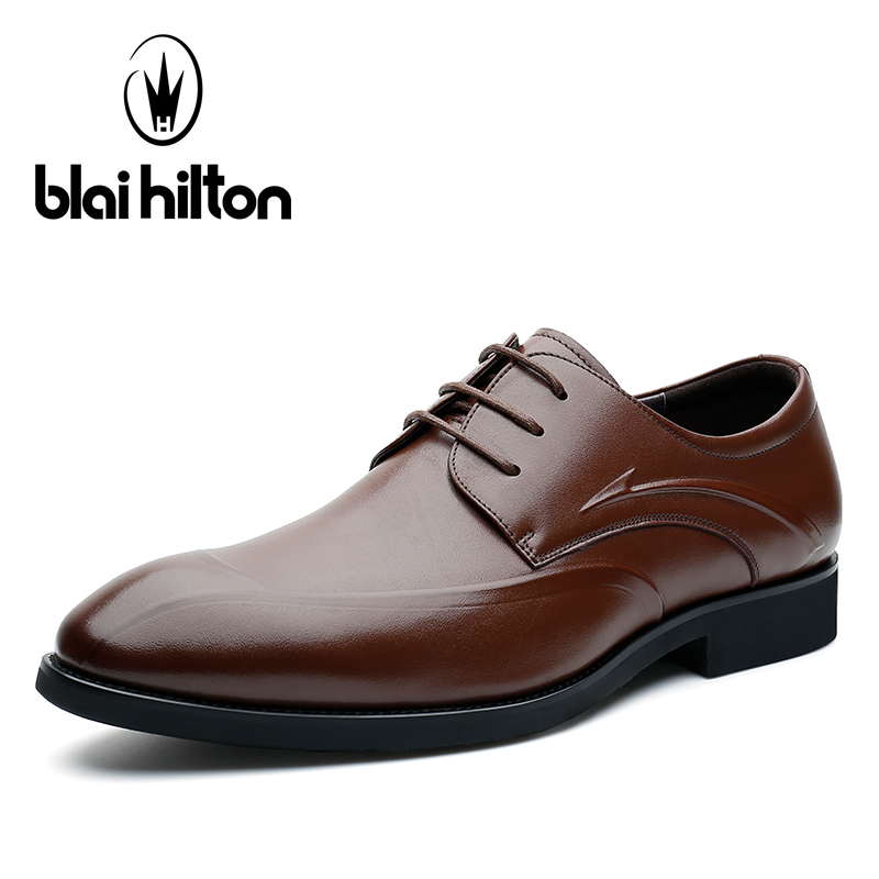 Blaibilton 100% Genuine Leather Elegant Formal Dress Men Shoes Oxfords Business Classic Office Wedding Mens Casual Italian SD710 dxkzmcm men oxfords shoes black brown mens dress shoes genuine leather business shoes formal wedding shoes