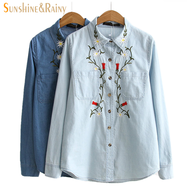 2016 autumn winter floral embroidery denim shirt women for Jeans shirt for ladies online