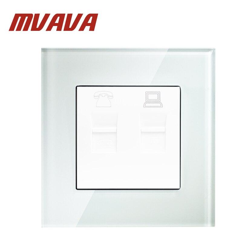 MVAVA Universal Elétrica Soquete de Parede Painel de Vidro de Cristal de Luxo de Telefone E Computador 10A 110 ~ 250 V 220 V TEL & PC Tomada de Parede