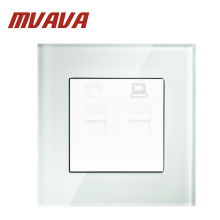 купить MVAVA universal electrical Telephone and computer wall socket,Luxury Crystal glass panle 10A 110~250V 220V TEL&PC wall outlet дешево