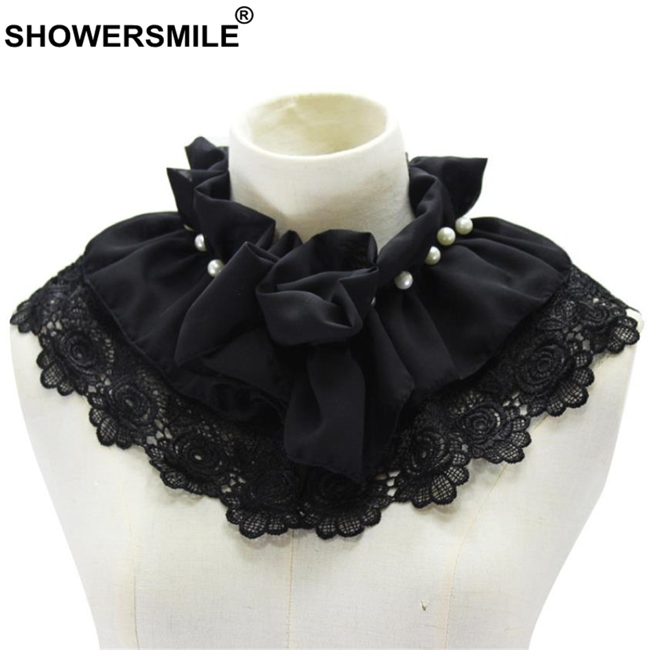 SHOWERSMILE Black Fake Collar Women Detachable Ruffle Collar Lace Pearl Shirt Sweater Female Removable False Collar Novelty