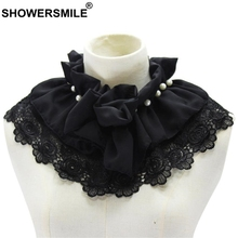 SHOWERSMILE Black Fake Collar Women Detachable Ruffle Lace Pearl Shirt Sweater Female Removable False Novelty
