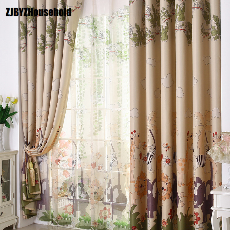 Curtains For Living Dining Room bedroom Children Boys Girls Animated Cartoon High-grade Window Shade Screens happy childhood