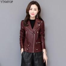 YTNMYOP мотоциклетная кожаная куртка Тонкий Повседневный из кожзаменителя одежда высокого качества на молнии кожаное пальто Топы