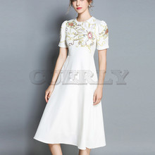 Cuerly 2019 Summer New Fashion Designer Runway Dress Women White Short Sleeve Embroidery Floral Casual Vintage S-XXL