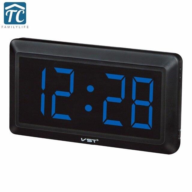 6bc1536b800 New Modern Mesa De Plástico Relógio Digital LEVOU Relógio de Parede Números  Grande Display Digital Relógios