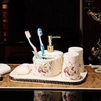Стиль керамической Ванная комната, четыре части ванной статьи, туалет, зубная щетка, ополаскиватель, мыло коробка, комплект