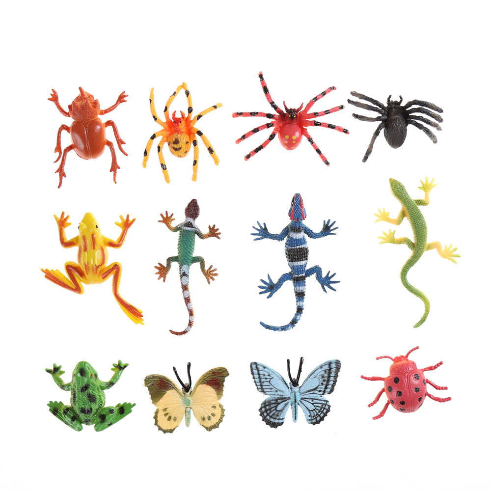 12pcs/lot Wholesale Plastic Insect Reptile Model Figures Kids Party Bag Filler Favour Toys Boy Favor Insects Figures Randomly