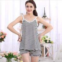 Cotton Summer Girls Black White Stripe Camisoles And Shorts Pajamas Sets