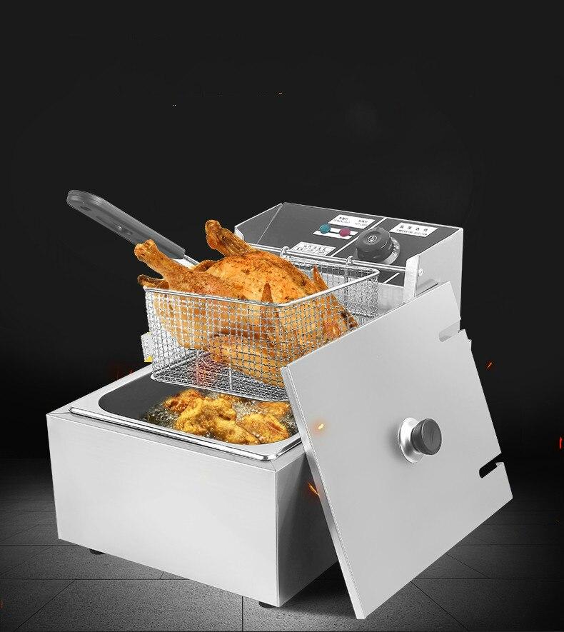 Friteuses électriques friteuse à huile commerciale électrique monocylindre haut fourneau double frites nouveau
