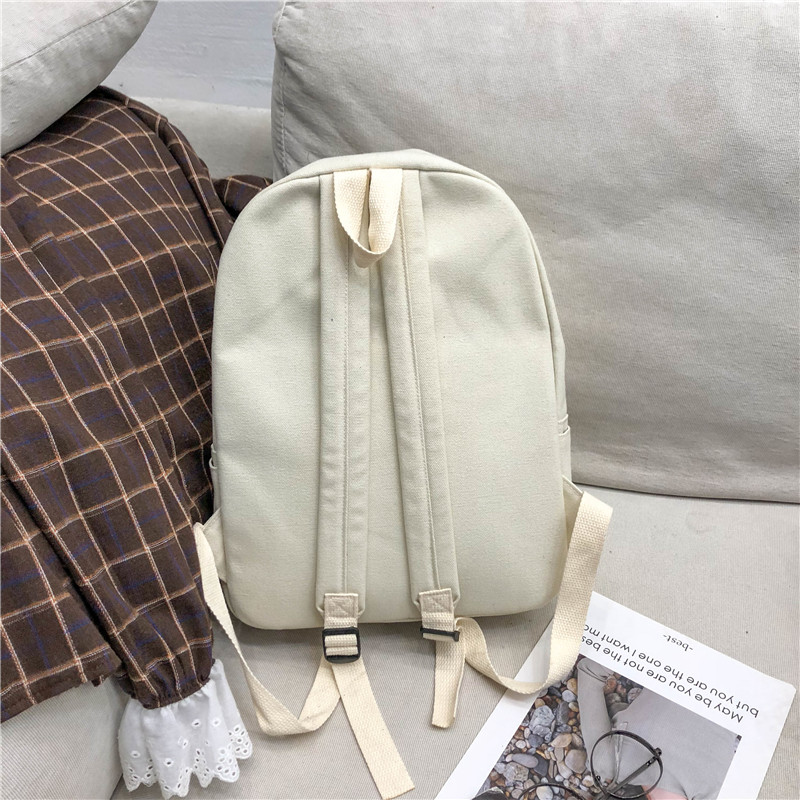 Image 2 - Menghuo Preppy Style Women Backpack for School Teenager Girls School Bag Ladies Canvas Fabric Backpack Female Bookbag Mochilas-in Backpacks from Luggage & Bags