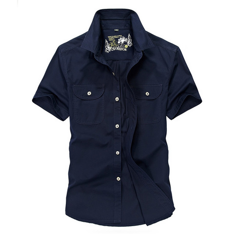 2018 Military Shirt Men Summer Casual Short Sleeve Turn-down Collar Mens Shirts Plus Size 4XL Camisa masculina Chemise Homme Karachi