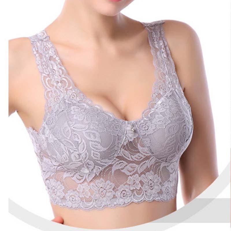 DeRuiLaDy 2020 Seamless Bra Full Cup Wire Free Deep V Bras For Women Lace Sexy Lingerie Breathable Tank Top Underwear Women Bras