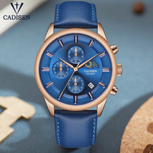 CADISEN 2019 New Mens Waterproof Watches Top Brand Luxury Quartz Watch Men Military Leather Wrist Relogio masculino