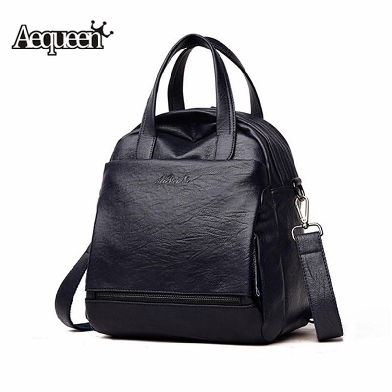 AEQUEEN Black Backpack Female Casual Soft Leather School Shouder Bag Large Travel Backpacks Mochila For Women Mochila Feminina