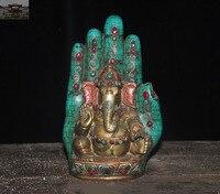 christmas 9Old Tibet Bronze Inlay Turquoise Gem Elephant Jambhala God buddha Hand statue New Year