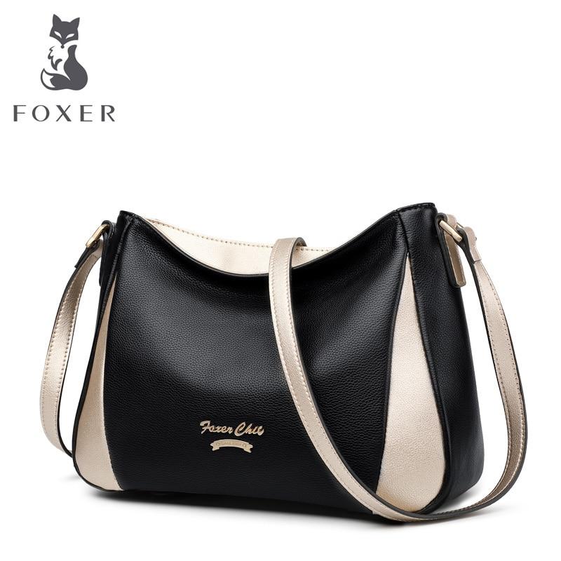 FOXER бренд пояса из натуральной кожи леди сумка мягкая сумки через плечо женская высокое ёмкость вместительные сумки кошелек