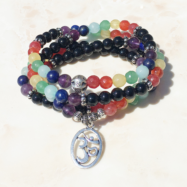 Sn0069 108 Mala Chakra Bracelet Or Necklace 7 Yoga Meditation For Women Pure Natural