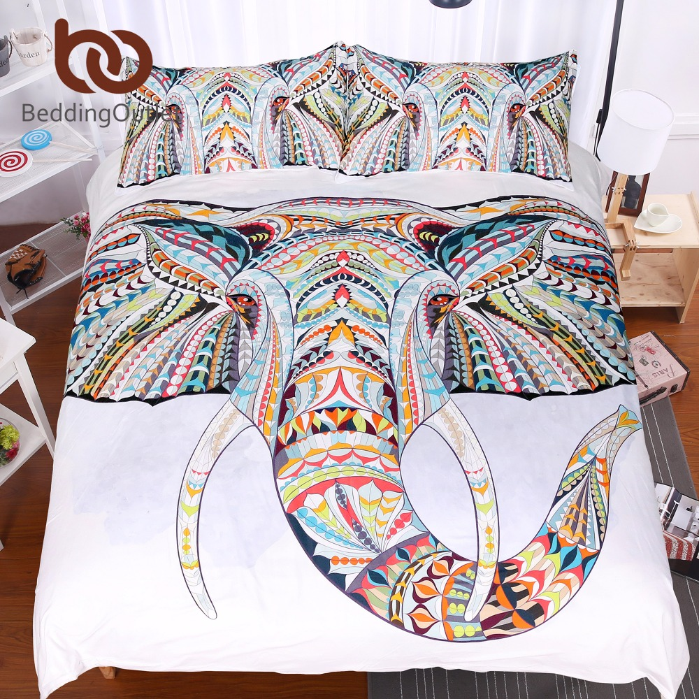 BeddingOutlet 3 Pieces 3D Elephant Bedding Set Bohemia