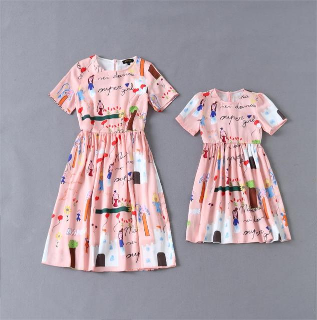Family clothing New fashion Brand mother daughter dresses matching family look pink mom and daughter dress k30