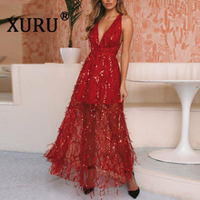 XURU Summer New Womens Sexy Sequined Dress V-neck Sling Halter Fringe Nightclub