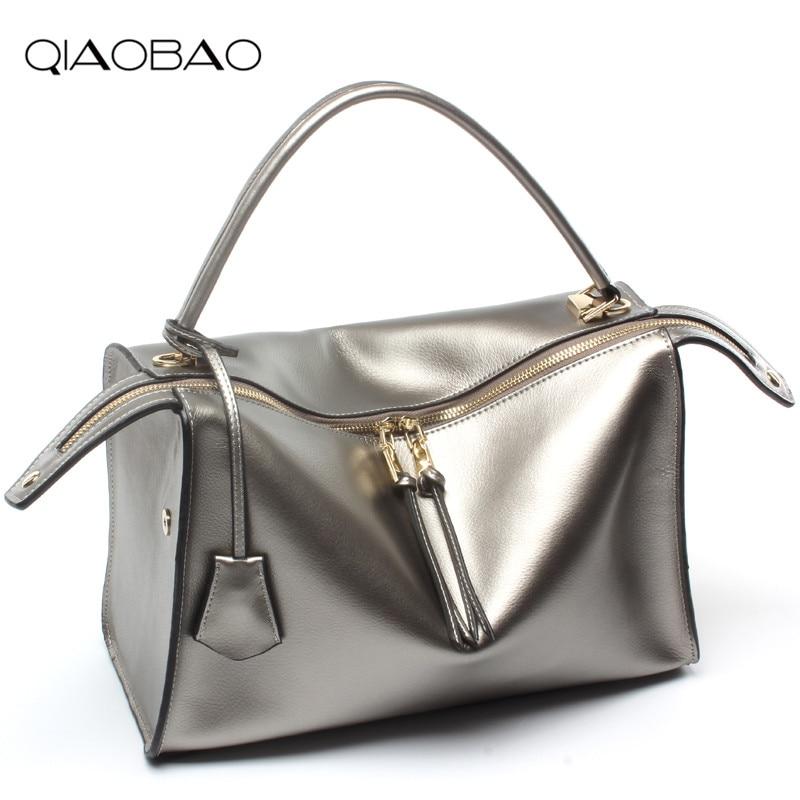 QIAOBAO 100% Genuine leather bag women messenger bags luxury handbags women bags designer shoulder bags famous brands bolsos