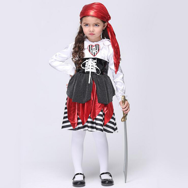 2017 Autumn Girls Halloween Party Dresses Princess Children Clothes For Kids Vestidos Baby Clothing Girl Dress Pirate Captain 4 8y retail dress for girls baby girl children tutu dresses princess party dresses vestidos kids girls clothes neat sh5460 mix