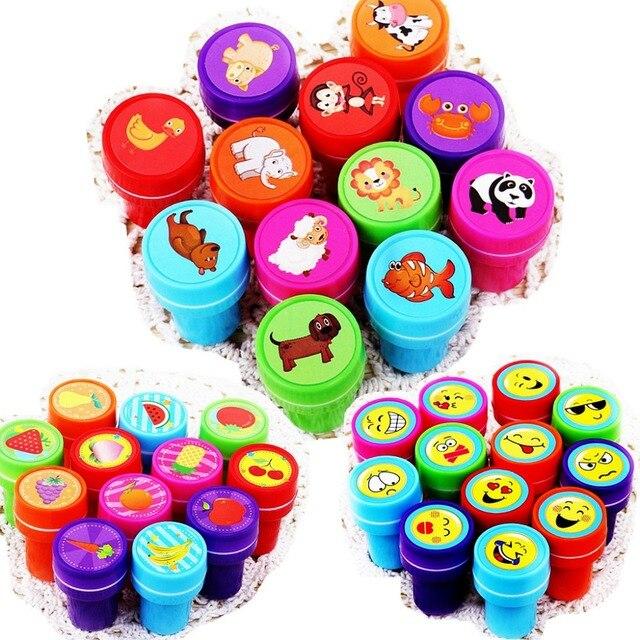 10/12pc/Lot Kids Cartoon Stamp Children Custom Plastic Rubber Self Inking Stampers Toys