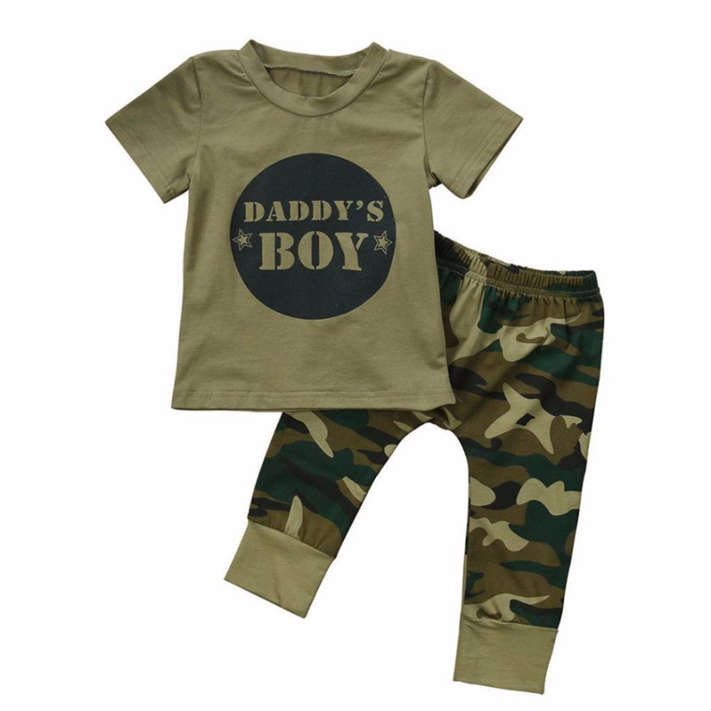 2PCS Newborn Toddler Baby Boy Girl Camo T-shirt Tops Pants Outfits Set Clothes Casual Sh ...